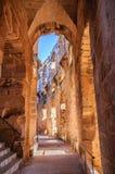 Pasillo en ruinas del coliseo más grande, África del Norte EL Jem, Túnez, la UNESCO Fotos de archivo libres de regalías