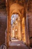 Pasillo en ruinas del coliseo más grande, África del Norte EL Jem, Túnez, la UNESCO Fotografía de archivo