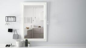 Pasillo escandinavo del pasillo de la entrada con el espejo que refleja la cocina de madera brillante con la fruta y el pan, desi Fotos de archivo libres de regalías