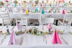 Pasillo festivo del banquete del ajuste de la tabla Foto de archivo