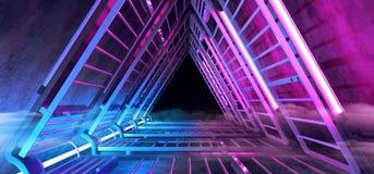 Pasillo formado triángulo azul púrpura de neón del túnel de la niebla futurista del humo de Sci que brilla intensamente Fi con la ilustración del vector