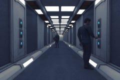 Pasillo futurista del interior de la nave espacial libre illustration