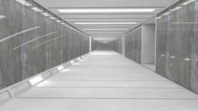 Pasillo futurista del interior de la nave espacial Foto de archivo