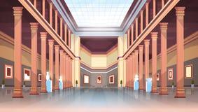 Pasillo histórico clásico de la galería de arte del museo con las columnas y los objetos expuestos antiguos interiores y las escu libre illustration