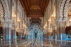 Pasillo interior Casablanca Moro de la mezquita de Hassan II Fotos de archivo libres de regalías
