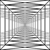 Pasillo largo con las paredes transparentes, túnel geométrico imagenes de archivo