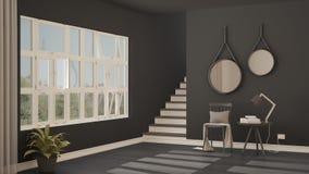 Pasillo minimalistic escandinavo, entrada, vestíbulo, inter moderno fotografía de archivo