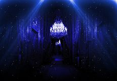 Pasillo oscuro con la luz de neón, interior lujoso en una versión del club nocturno Lumbrera fotos de archivo libres de regalías