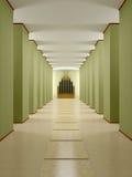 Pasillo, pasillo con las columnas y el podio. ilustración del vector