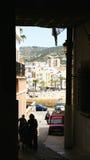 Pasillo provisional para los trabajos en Sitges Imagen de archivo libre de regalías