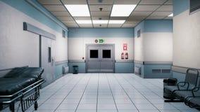 Pasillo sin fin del hospital vacío Pasillo vacío de la clínica Un vestíbulo sin fin largo con las puertas El pasillo del almacen de video