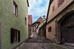 Pasillo viejo en el der Tauber del ob de Rothenburg en Alemania Fotos de archivo libres de regalías