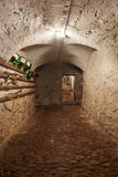 Pasillo viejo, oscuro del sótano en casa antigua Foto de archivo
