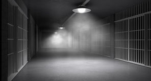 Pasillo y células frecuentados de la cárcel fotos de archivo libres de regalías