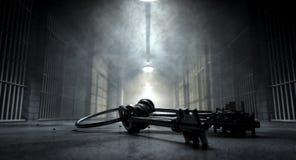 Pasillo y llaves de la cárcel Foto de archivo libre de regalías