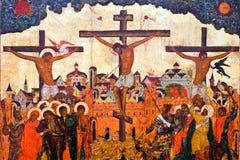 Pasión del icono antiguo de Cristo Imágenes de archivo libres de regalías