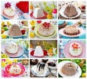 Paska del dessert del formaggio di Pasqua del collage dell'alimento Fotografia Stock Libera da Diritti