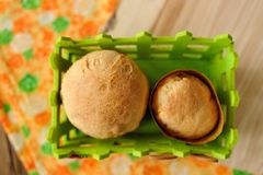 Paska, East European easter sweet breads in green basket Stock Photography