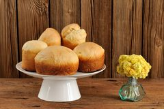 Paska, East European easter sweet breads on white pedestal with Stock Photo