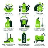 Płaska ikona ustawiająca dla zielonego eco cleaning Zdjęcia Royalty Free