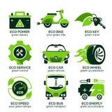 Płaska ikona ustawiająca dla zielonego eco miastowego ruchu drogowego Obraz Royalty Free