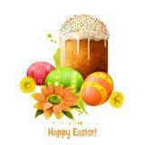 Paskabrood met eieren op wit De gegeten Oosteuropese landen van Pasen brood Het ontwerp van de groetkaart, vakantie Royalty-vrije Stock Fotografie