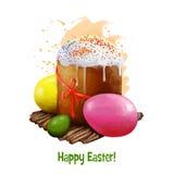 Paskabrood met eieren op wit worden geïsoleerd dat De gegeten Oosteuropese landen van Pasen brood Het ontwerp van de groetkaart,  Stock Afbeeldingen