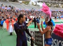 Paskal Martinot Lagarde po jego biega 110 m przeszkody na DecaNation Międzynarodowych Plenerowych grach Zdjęcia Stock