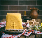 Paskha and kulich. Traditional Russian Orthodox Easter Quark Dessert Curd.Easter background.Toned image.Vintage style.selective focus Royalty Free Stock Image