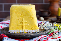 Paskha and kulich. Traditional Russian Orthodox Easter Quark Dessert Curd.Easter background.Vintage style.selective focus Royalty Free Stock Photos