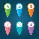 Płaski Infographics szablon i sieć elementów biznes, komputer, Marketingowy pojęcie Zdjęcia Royalty Free