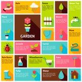 Płaskiego projekta ikon Infographic ogródu natury Wektorowy pojęcie Obraz Royalty Free