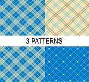 3 paskowali wektorową wzorów, białej i błękitnej teksturę, Ilustracja Wektor