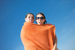Paskudna para na plaży Obraz Royalty Free