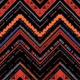 Paskuje jaskrawego plemiennego bezszwowego wzór z zygzag Zdjęcia Royalty Free