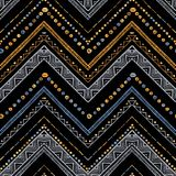 Paskuje jaskrawego plemiennego bezszwowego wzór z zygzag Obrazy Royalty Free