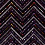 Paskuje jaskrawego plemiennego bezszwowego wzór z zygzag Zdjęcia Stock