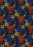 Κόκκινοpasley και ανοικτό πράσινο λουλούδια σε ένα μπλε υπόβαθρο Στοκ Εικόνες