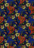 Pasleyrouge et fleurs vert clair sur un fond bleu Photo stock