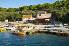 Pasman island, Croatia -  Small restaurant on the coast with pie Stock Photography