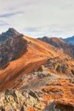 Pasmo górskie w Zachodnich Tatrzańskich górach Zdjęcie Stock