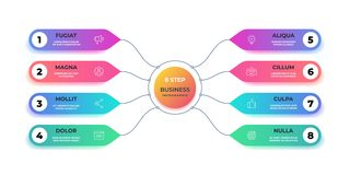 Paso 3D infographic Carta gráfica del círculo realista, disposición redonda del gráfico de negocio, presentación del paso Flujo d ilustración del vector