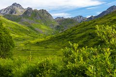 Paso de Hatcher cerca de Palmer Alaska imagen de archivo libre de regalías