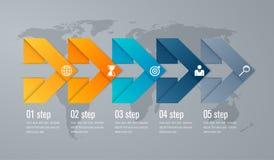 Paso de Infographic cinco con la flecha del triángulo 3d Fotografía de archivo