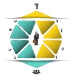 Paso de la flecha del negocio con el icono Imagen de archivo libre de regalías