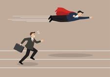 Paso de la mosca del super héroe del hombre de negocios su competidor Imágenes de archivo libres de regalías