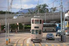 paso de la tranvía en la isla de HK del oeste Fotografía de archivo libre de regalías