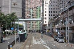paso de la tranvía en la isla de HK del oeste Imagen de archivo