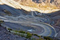 Paso de los Libertadores, Winding Road at 3000 meters, between A Stock Image