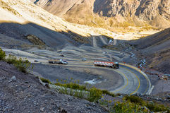 Paso de los Libertadores, Winding Road at 3000 meters, between A Royalty Free Stock Photography